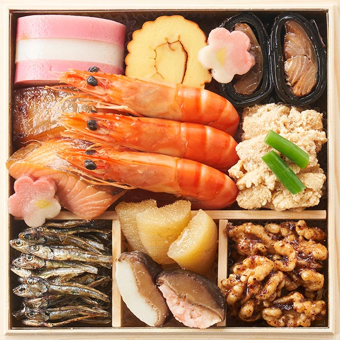 オイシックスのおせち料理『福寿』お得な早割で1,100円割引!一の重のお品書き
